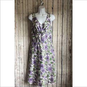Loft size 10 purple floral dress a-line